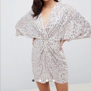Asos scatter sequin knot front kimono dress